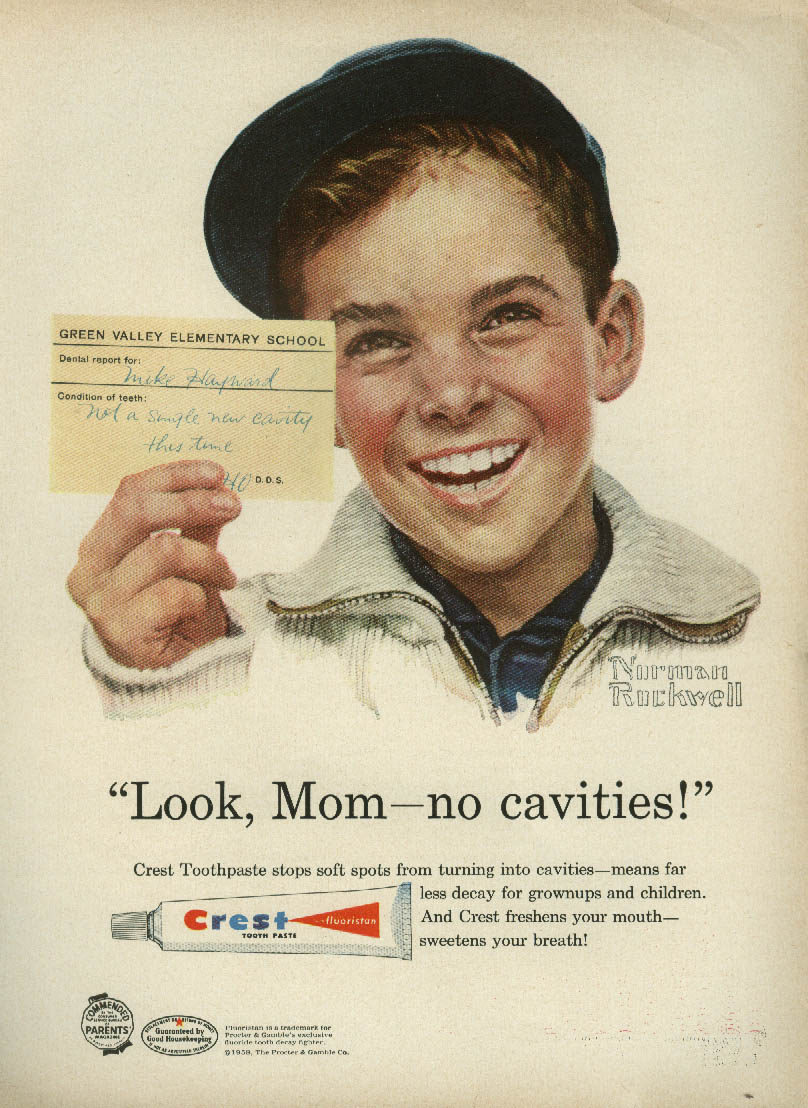 Norman Rockwell painting of brown-haired kid in a blue cap smiling big in a 1950s Crest fluoride toothpaste ad.