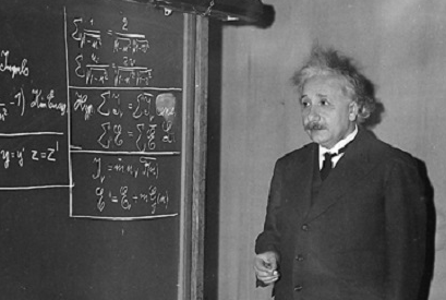 Albert Einstein giving a lecture at AAAS