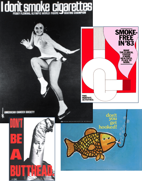 Collage of public health posters promoting quitting smoking and non-smoking 'I Don't Smoke Cigarettes' 'Don't Be a Butthead'