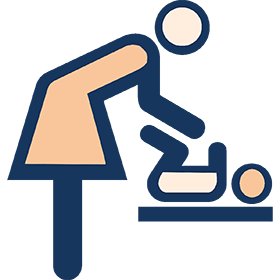 Icon of mother changing baby diaper