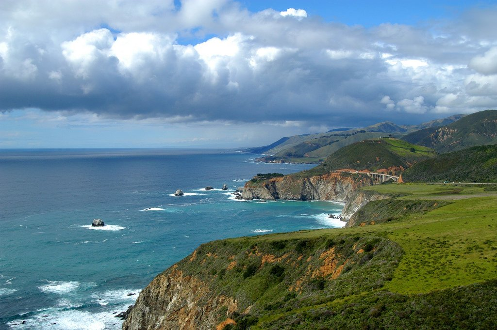 View of the coast in Big Sur California