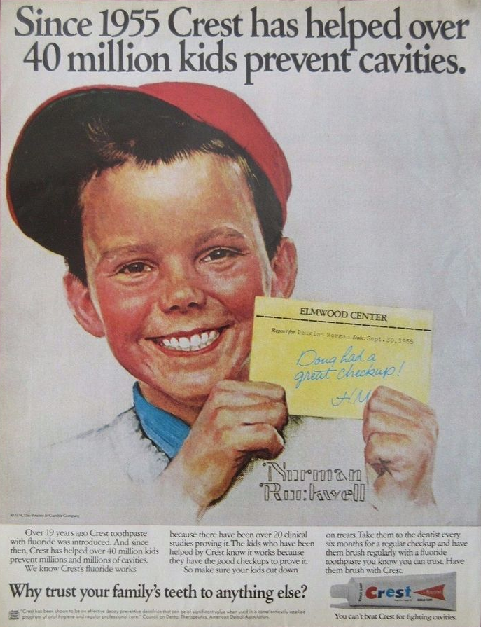 Magazine ad featuring Norman Rockwell painting young White boy in a red cap holding a note up with two hands: 'Elmwood Center, Report for Douglas Morgan, Date Sept. 30, 1958, Doug had a great checkup! H.M.' Copy above says 'Since 1955 Crest has helped over 40 million kids prevent cavities.' Copy below: 'Over 19 years ago Crest toothpaste with fluoride was introduced. And since then, Crest has helped over 40 million kids prevent millions and millions of cavities. We know Crest's fluoride works because there have been over 20 clinical studies proving it. The kids who have been helped by Crest know it works because they have the good checkups to prove it. So make sure your kids cut down on treats. Take them to the dentist every six months for a regular checkup and have them brush regularly with a fluoride toothpaste you know you can trust. Have them brush with Crest. Why trust your family's teeth to anything else? You can't beat Crest for fighting cavities.