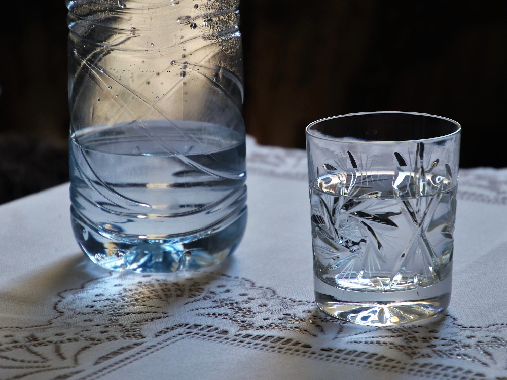 Water in glasses on a table