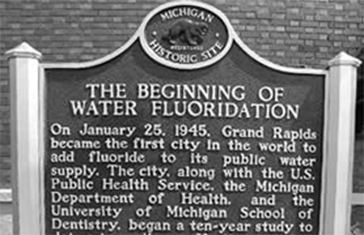 A commemoration of fluoride history, this historical marker is for the beginning of water fluoridation in Grand Rapids Michigan.