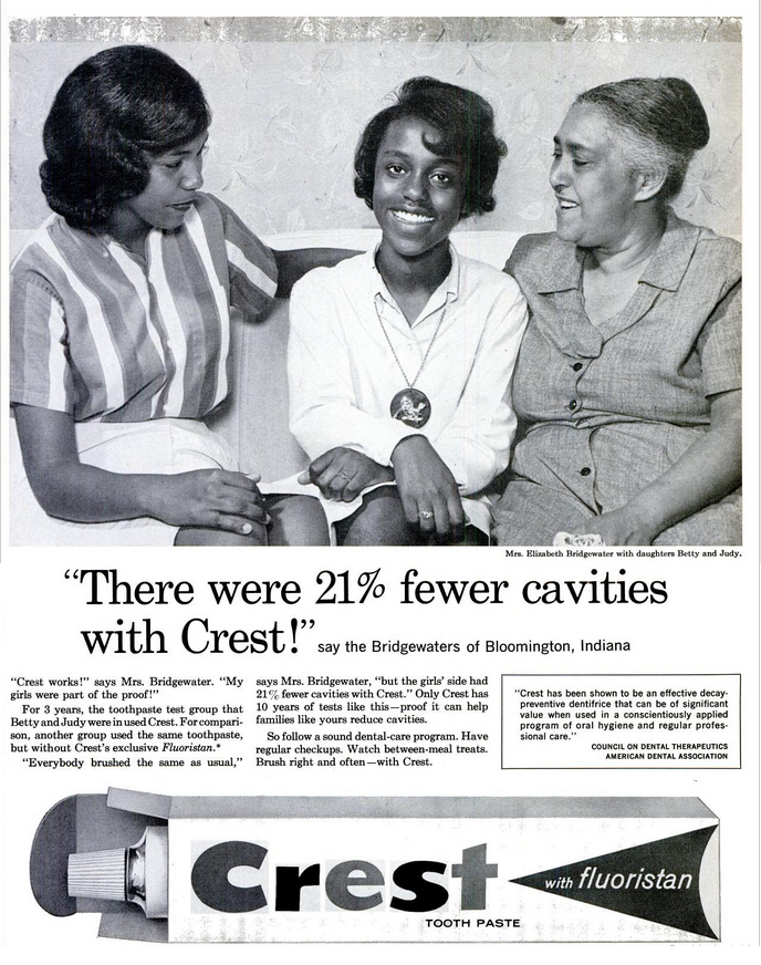 Three generations of grandmother, mother, and teen daughter sitting on their couch in a Crest advertisement featured in Ebony magazine. 'There were 21% fewer cavities with Crest!' say the Bridgewaters of Bloomington, Indiana.