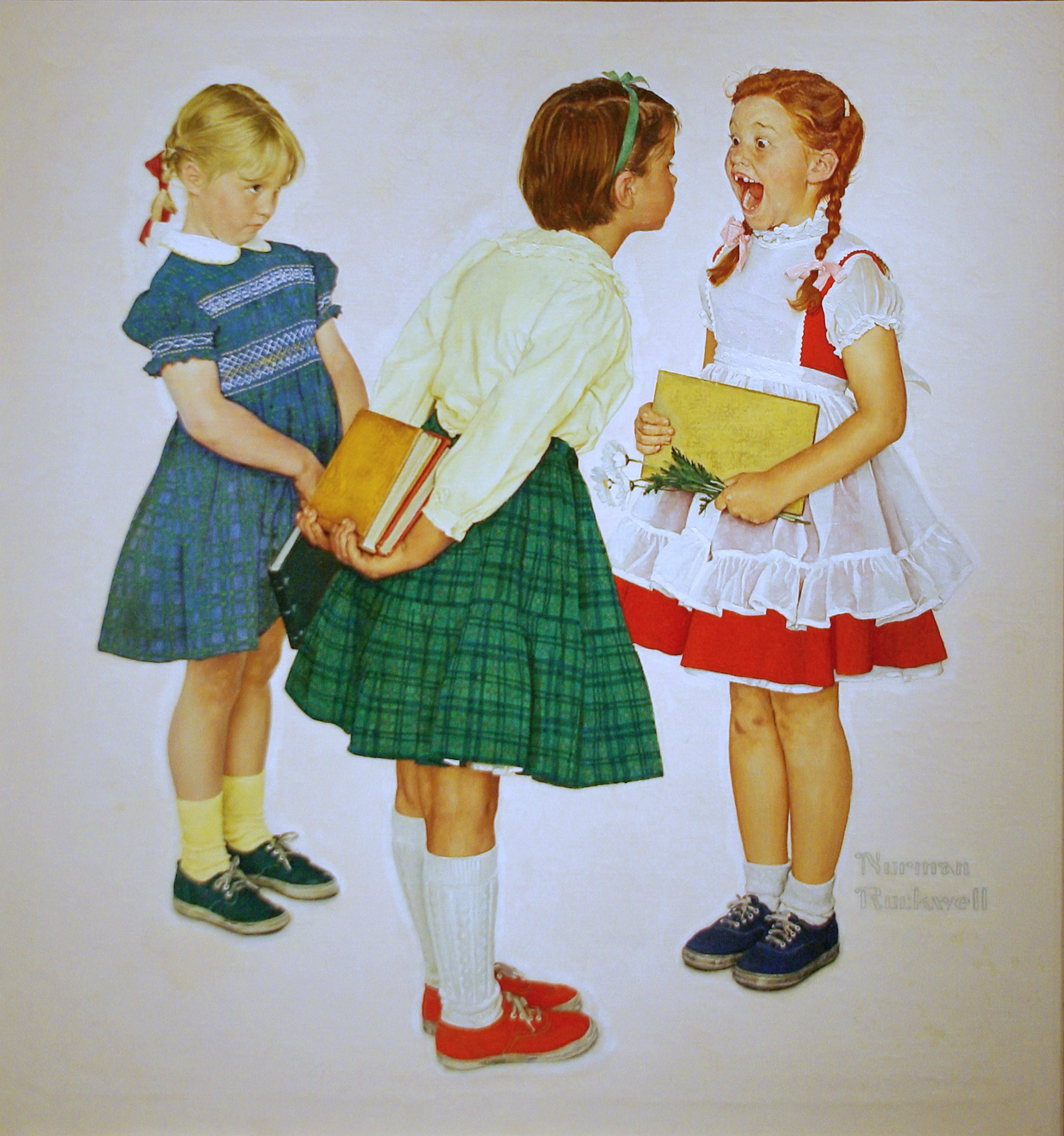 Famous Norman Rockwell painting of a redhead girl in two braids wearing a red A-line dress and white frilly apron with tennis shoes opens her mouth wide for another White girl in a green full skirt, yellow sweater, and tennies, bending forward to look at the redhead's missing front teeth.  A third blond girl looks on shyly.