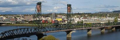 Hawthorne Bridge over the Willamette River in Portland Oregon