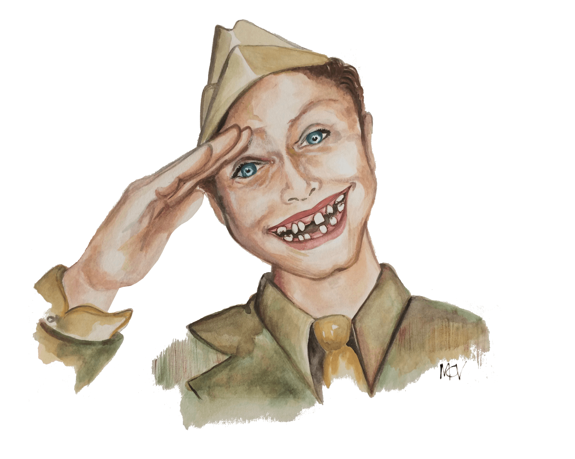 Illustration of dental health standard for service during World War 2, 6 pairs of teeth. Shows a big smile missing many teeth on a stereotypical 1940s happy guy with army hat.