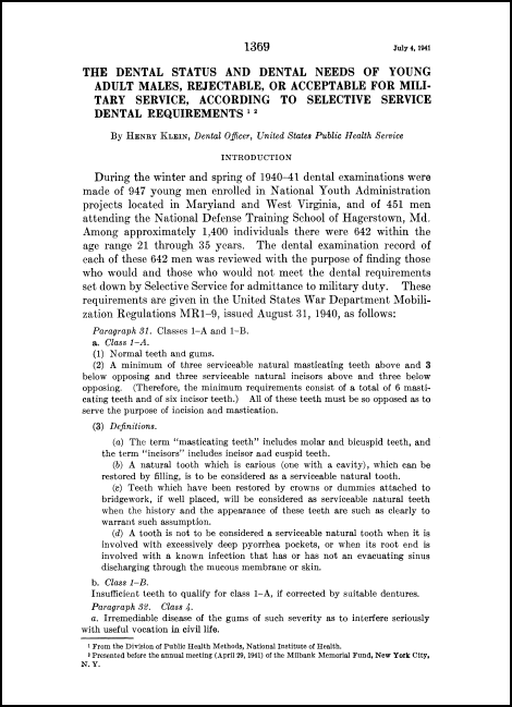 1941 paper by Klein on the dental health of young men in America