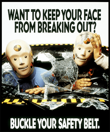 Larry and Vince, crash test dummies famous in ads for seat belts in 1980s