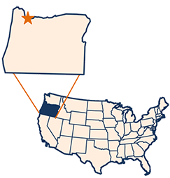 Map showing Portland, Oregon in the U.S.