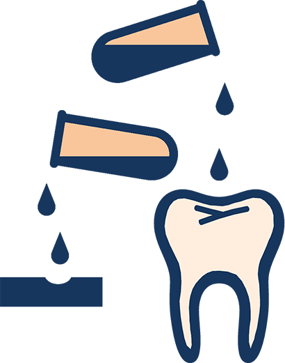 Icon of acid dripping on tooth surfaces
