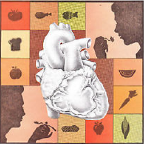 collage of food icons, people eating, and a heart