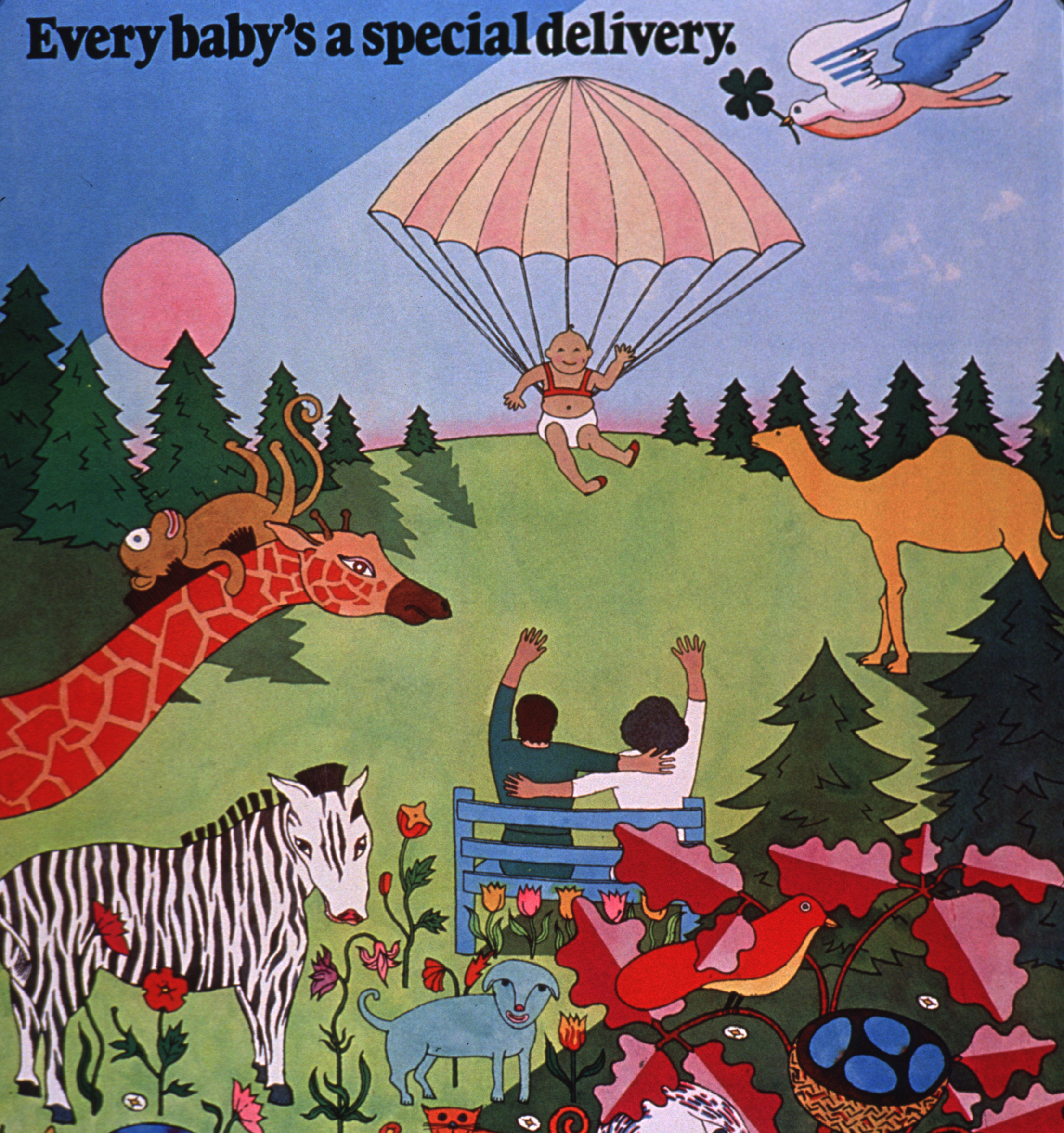 Baby parachuting down to two parents sitting on a park bench surrounded by animals; text says 'Every baby's a special deliver'