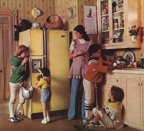 Vintage ad showing kids and a mom around a refrigerator
