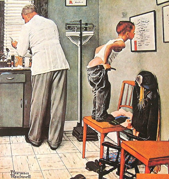 Humorous Norman Rockwell painting of boy inspecting doctor's credentials as doctor prepares a vaccination shot