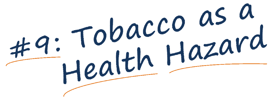 Tobacco as a health hazard banner text