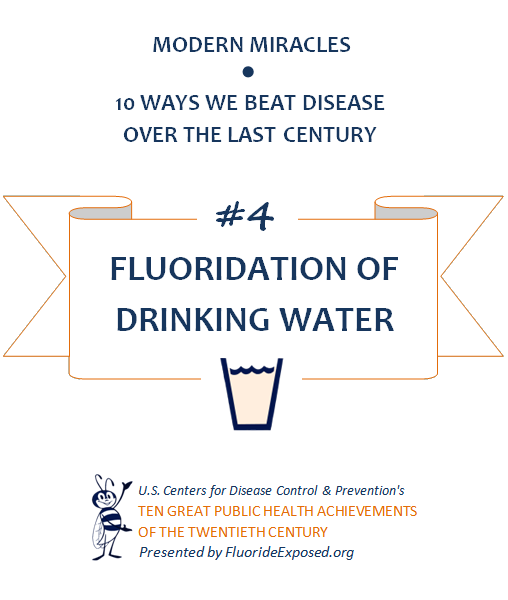 Title slide for public health achievement Fluoride and Fluoridation of Drinking Water. Text: Modern Miracles, 10 ways we beat disease over the last century, #4 Fluoridation of Drinking Water, U.S. Centers for Disease Control and Prevention's Ten Great Public Health Achievements of the Twentieth Century, Presented by FluorideExposed.org