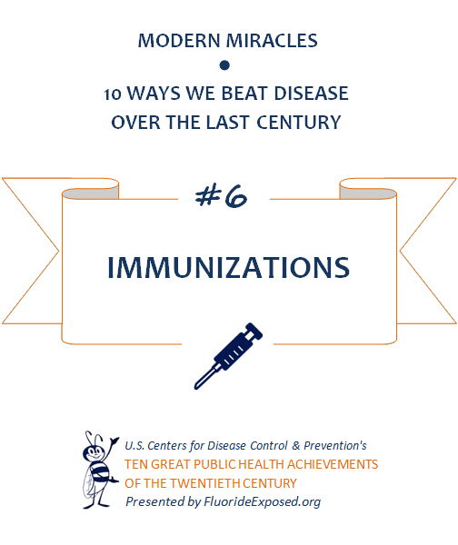 Title slide for public health achievement Immunizations and vaccines. Text: Modern Miracles, 10 ways we beat disease over the last century, #6 Immunizations, U.S. Centers for Disease Control and Prevention's Ten Great Public Health Achievements of the Twentieth Century, Presented by FluorideExposed.org