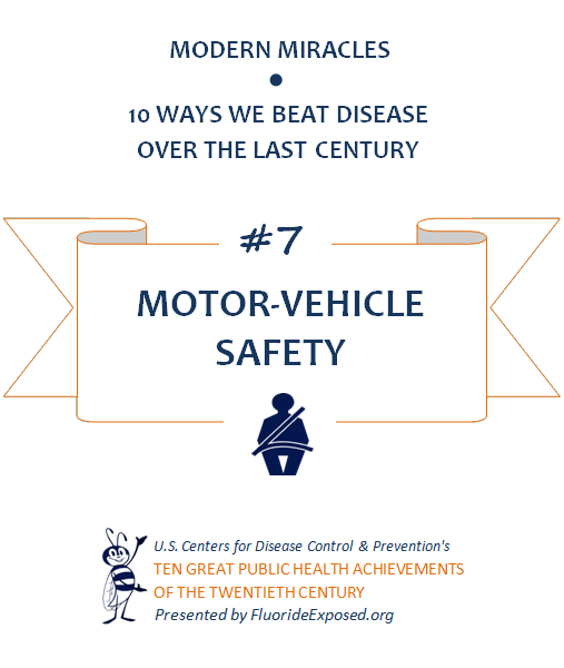 Title slide for public health achievement Motor Vehicle Safety, traffic safety, highway safety. Text: Modern Miracles, 10 ways we beat disease over the last century, #7 Motor-Vehicle Safety, U.S. Centers for Disease Control and Prevention's Ten Great Public Health Achievements of the Twentieth Century, Presented by FluorideExposed.org