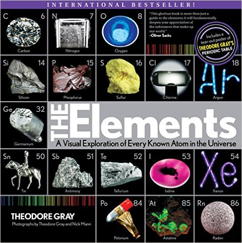 Book cover shows images, abbreviations, and atomic number for over a dozen example elements against a black background
