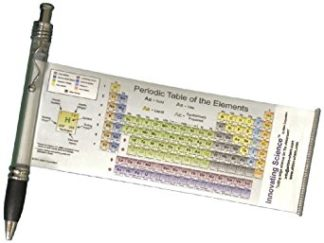 Pen with a pull-out periodic table of elements stretched out