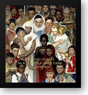 Print of Norman Rockwell's painting Golden Rule
