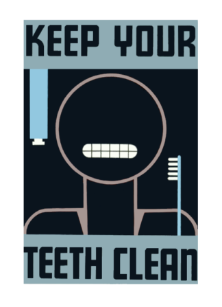 WPA poster, Keep Your Teeth Clean, featured in sticker